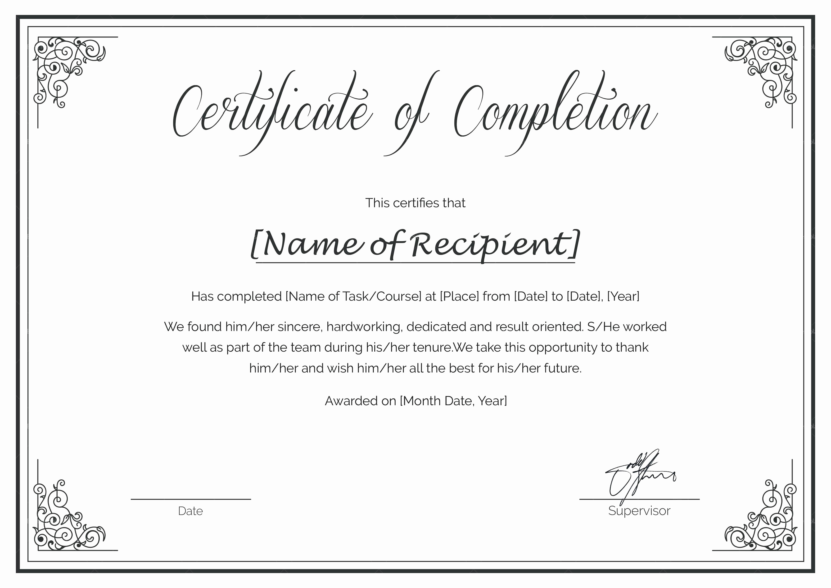 Sample Training Certificate Of Completion Inspirational Template Certificate Course Pletion Template