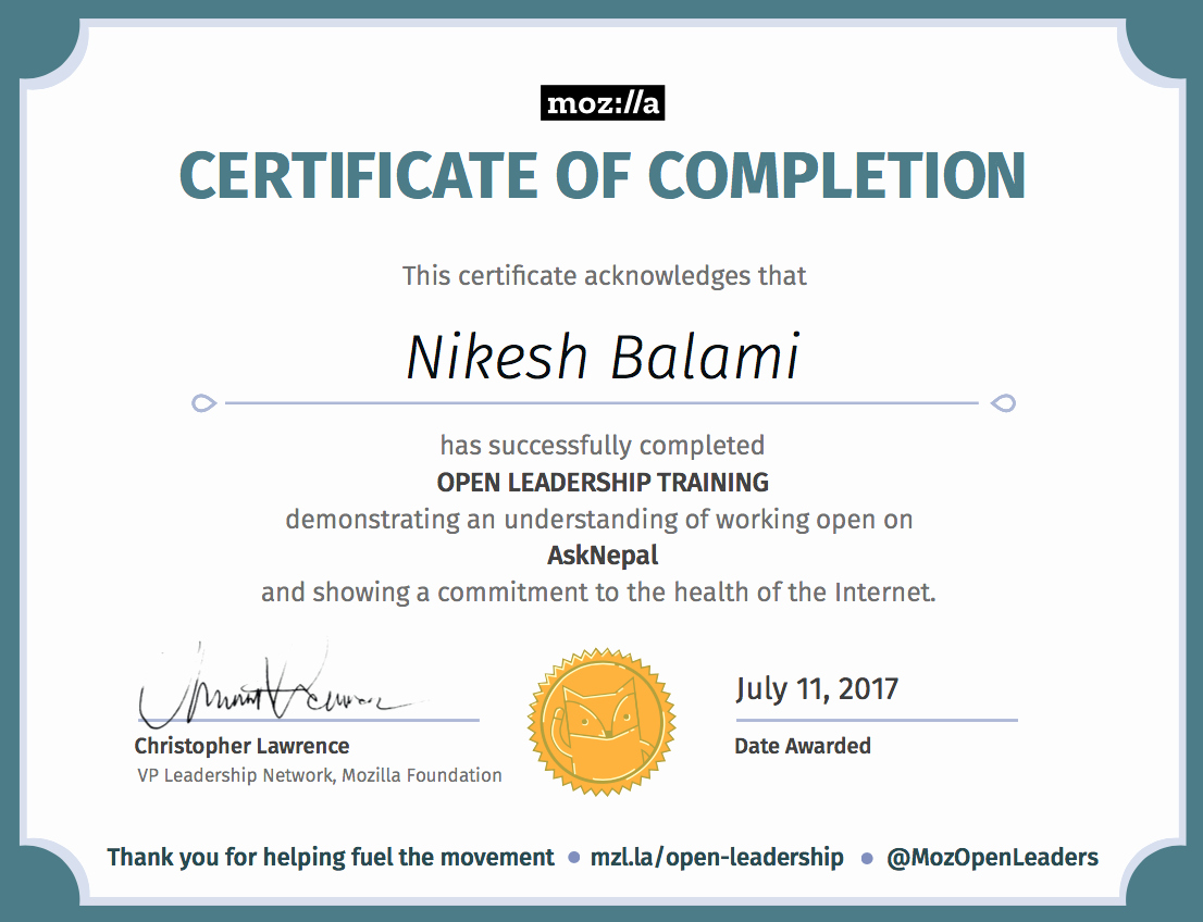 Sample Training Certificate Of Completion Lovely Certificate – Nikesh Balami