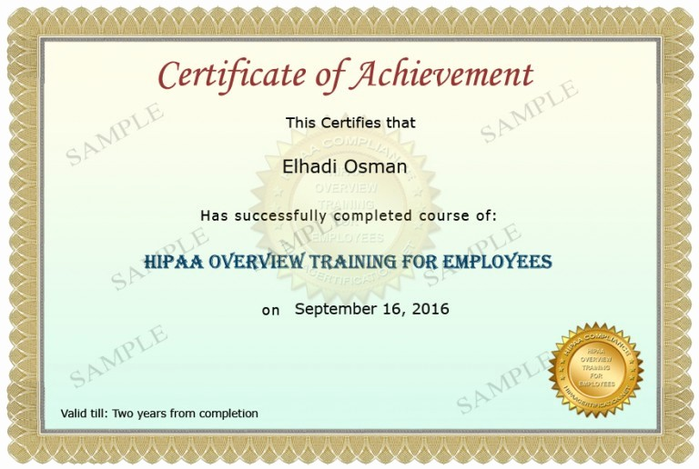 Sample Training Certificate Of Completion Lovely Hipaa Awareness for Healthcare Providers