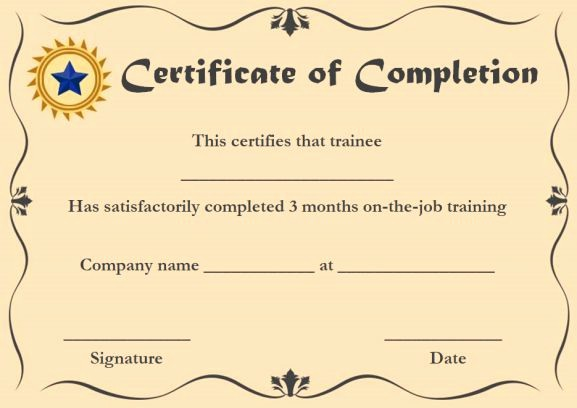 Sample Training Certificate Of Completion Luxury Certificate Of Pletion 22 Templates In Word format