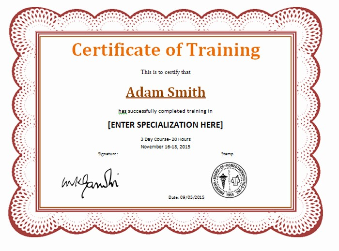 Sample Training Certificate Of Completion New 15 Training Certificate Templates Free Download Designyep
