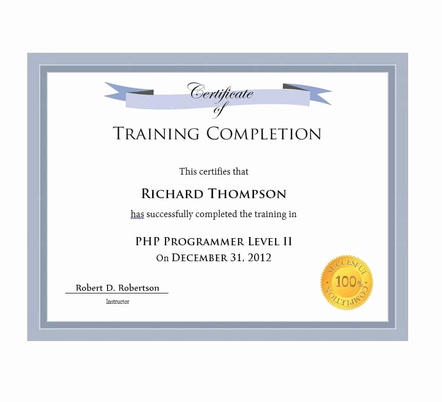 Sample Training Certificate Of Completion New 40 Fantastic Certificate Of Pletion Templates [word