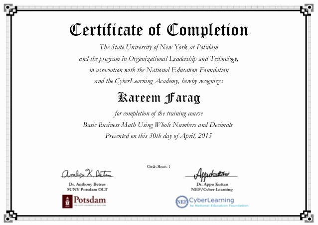 Sample Training Certificate Of Completion New Using whole Numbers and Decimals Certificate American