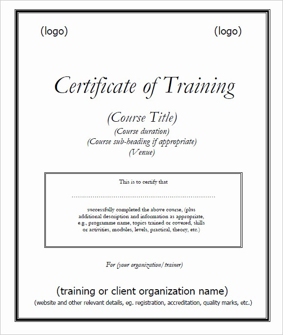 Sample Training Certificate Of Completion Unique 23 Training Certificate Templates – Free Samples