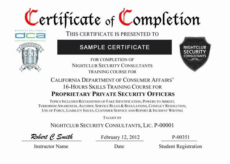 Sample Training Certificate Of Completion Unique Certificate Delivery