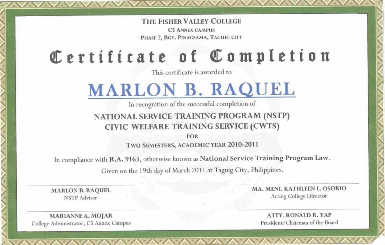 Sample Training Certificate Of Completion Unique Example Certificate Pletion Template Update234