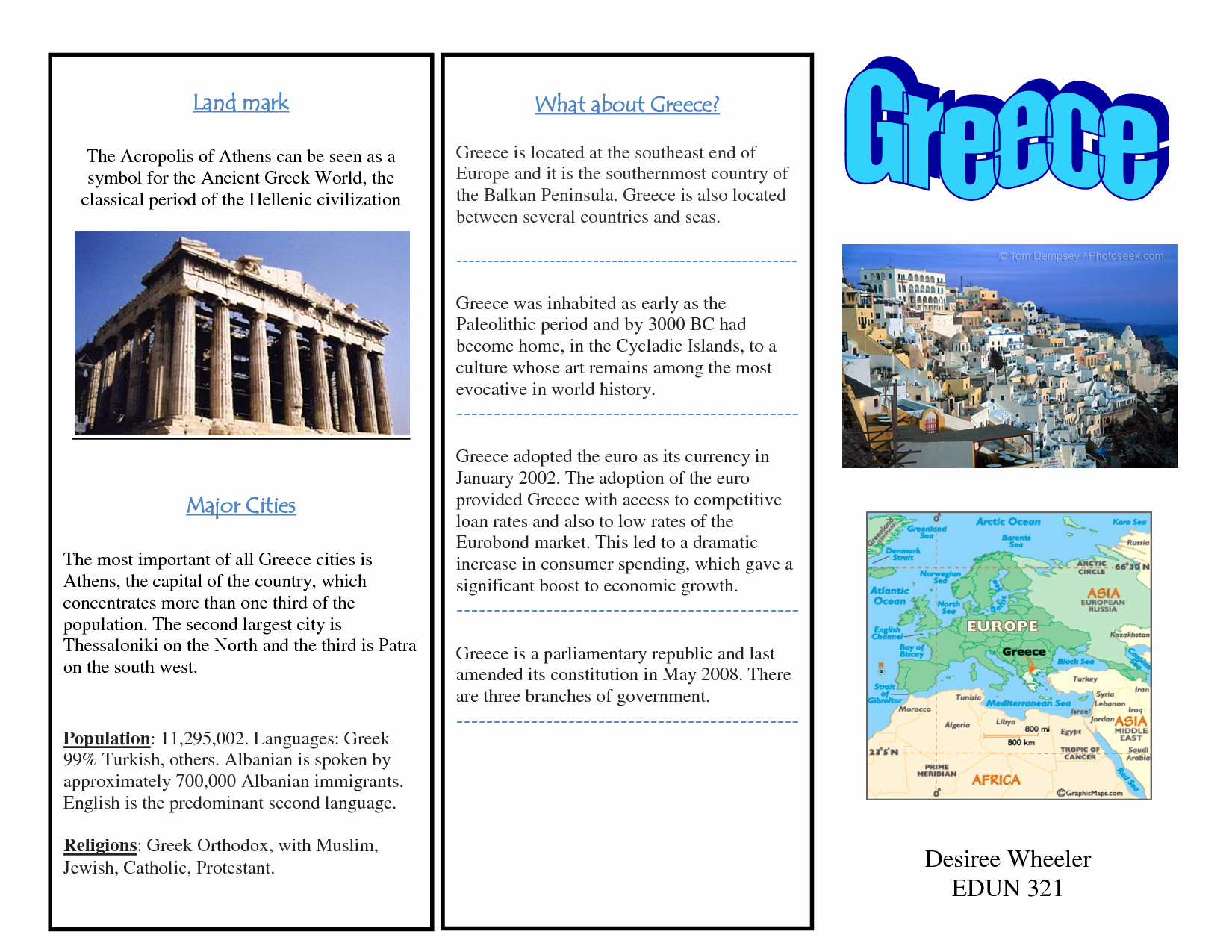 Sample Travel Brochure for Students Lovely Greece Travel Brochure Kids Writing Project