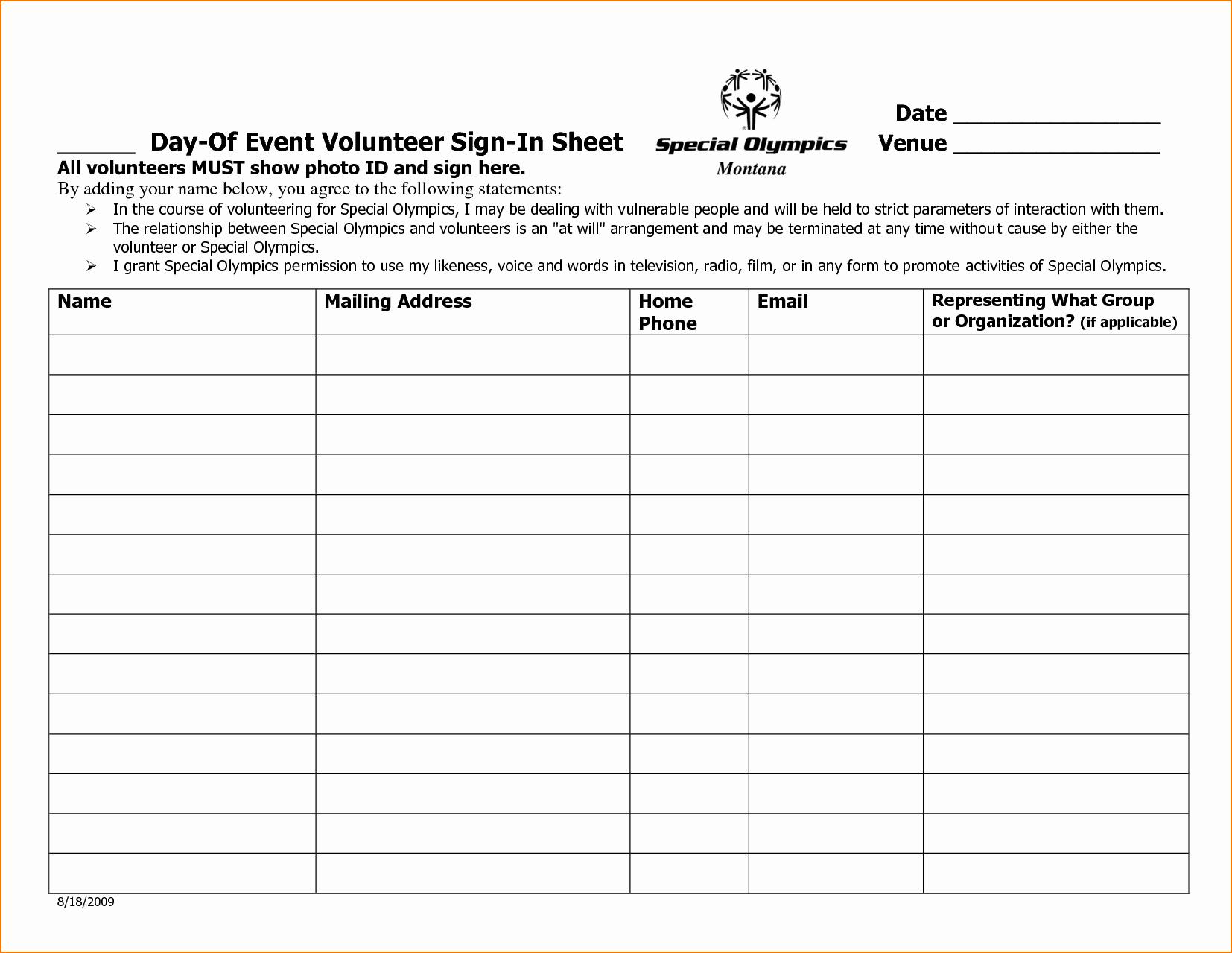Sample Volunteer Sign Up Sheet Awesome 5 Sample Sign In Sheet