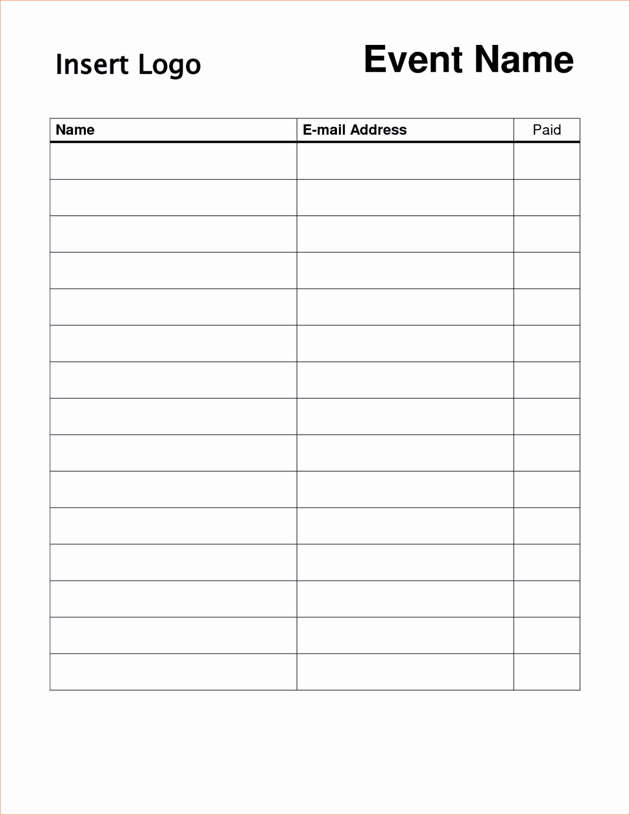Sample Volunteer Sign Up Sheet Awesome Printable Sign Up Sheet Template Word Excel