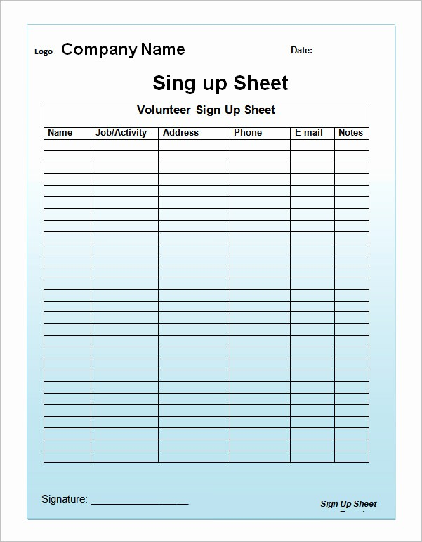 Sample Volunteer Sign Up Sheet Awesome Sign Up Sheet Template 13 Download Free Documents In