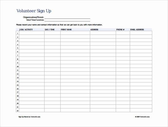 Sample Volunteer Sign Up Sheet Best Of 13 Sign Up Sheet Samples