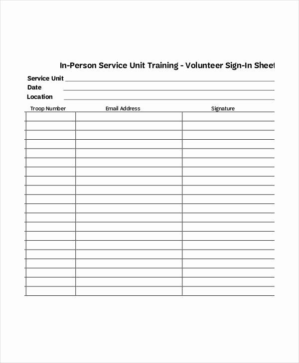 Sample Volunteer Sign Up Sheet Best Of Sample Training Sign In Sheet Letsridenow