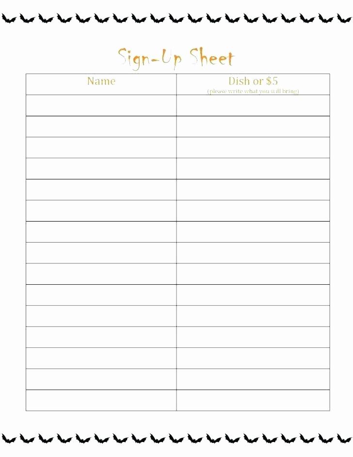Sample Volunteer Sign Up Sheet Elegant Email Sign Up Sheet Templates Free Potluck Line Excel