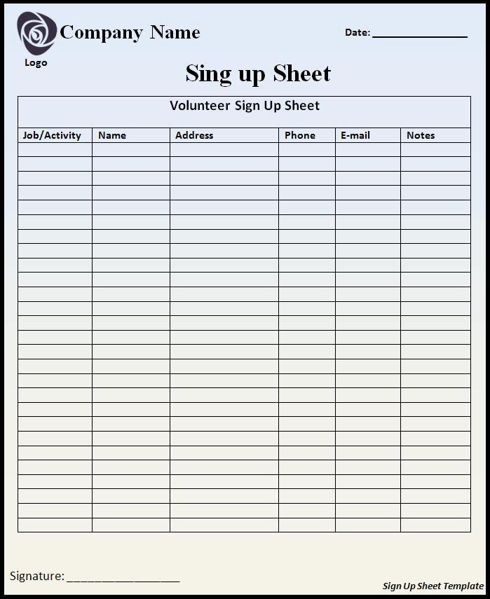 Sample Volunteer Sign Up Sheet Elegant Sign Up and Registration for Volunteer Sheet Sample Vatansun