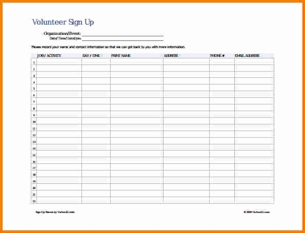 Sample Volunteer Sign Up Sheet Inspirational Sample Sign Up Sheet