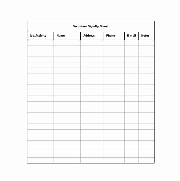 Sample Volunteer Sign Up Sheet Luxury 12 Sign Up Sheet Templates Free Excel Word Sample