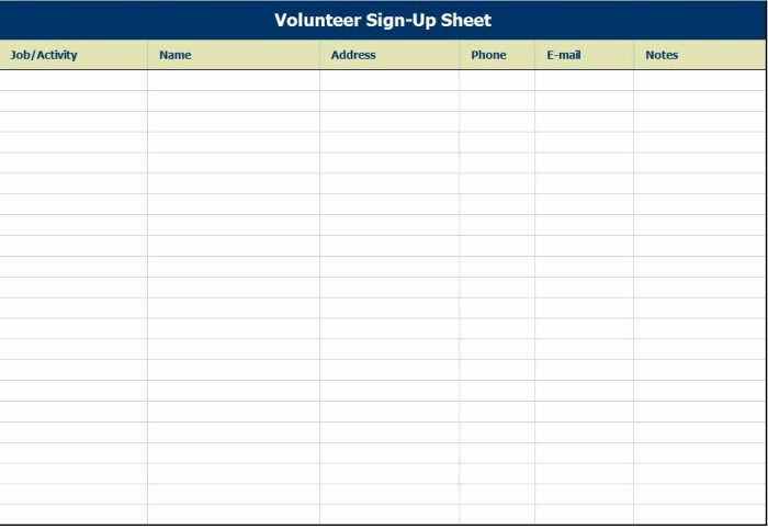 Sample Volunteer Sign Up Sheet New Blank and Simple Volunteer Sign Up Register Sheet