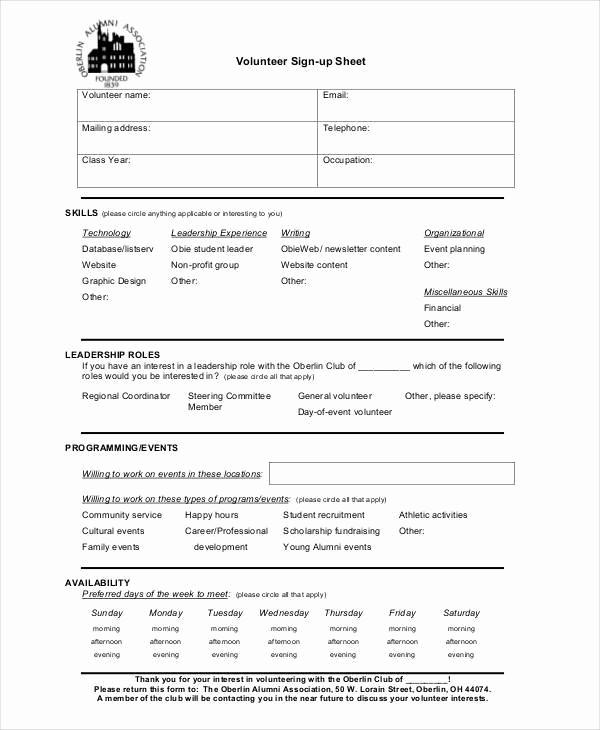 Sample Volunteer Sign Up Sheet Unique 39 Sheet Samples & Templates