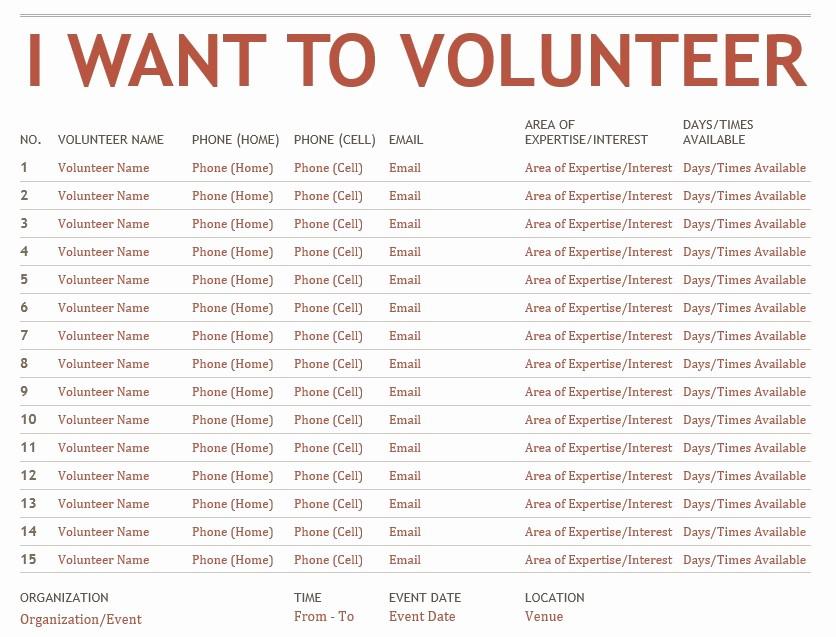 Sample Volunteer Sign Up Sheet Unique 9 Free Sample Volunteer Sign Up Sheet Templates