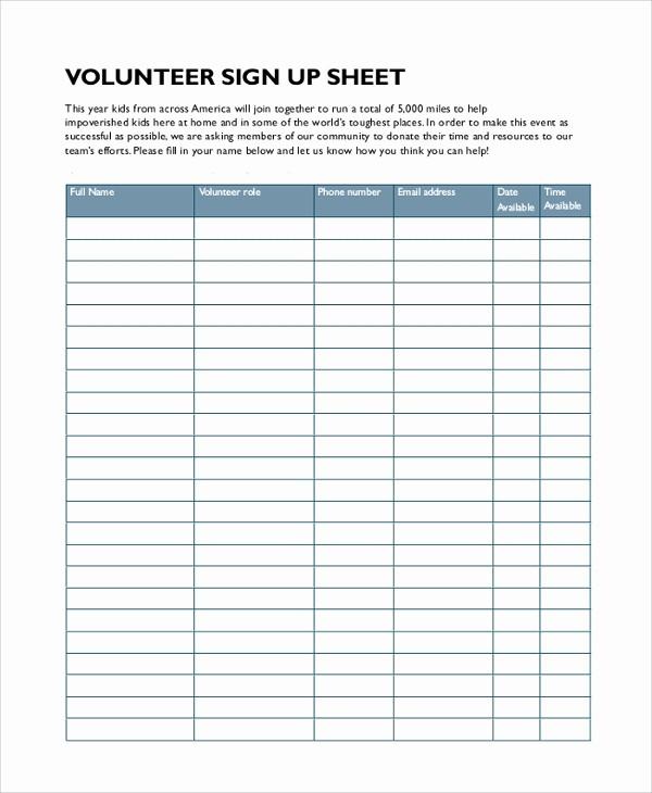 Sample Volunteer Sign Up Sheet Unique 9 Sample Sign In Sheets