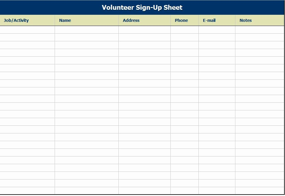 Sample Volunteer Sign Up Sheet Unique Blank and Simple Volunteer Sign Up Register Sheet