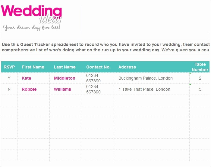 Sample Wedding Guest List Spreadsheet Awesome Wedding Guest List Template 6 Free Sample Example