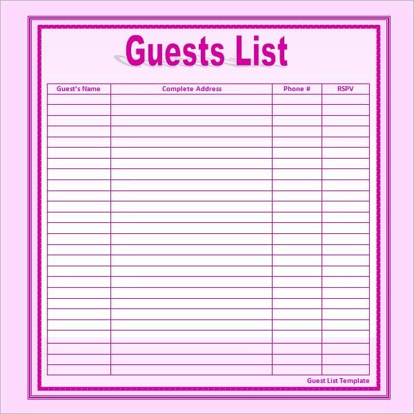 Sample Wedding Guest List Spreadsheet Beautiful 17 Wedding Guest List Templates – Pdf Word Excel