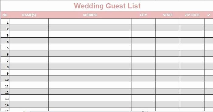 Sample Wedding Guest List Spreadsheet Elegant 35 Beautiful Wedding Guest List & Itinerary Templates