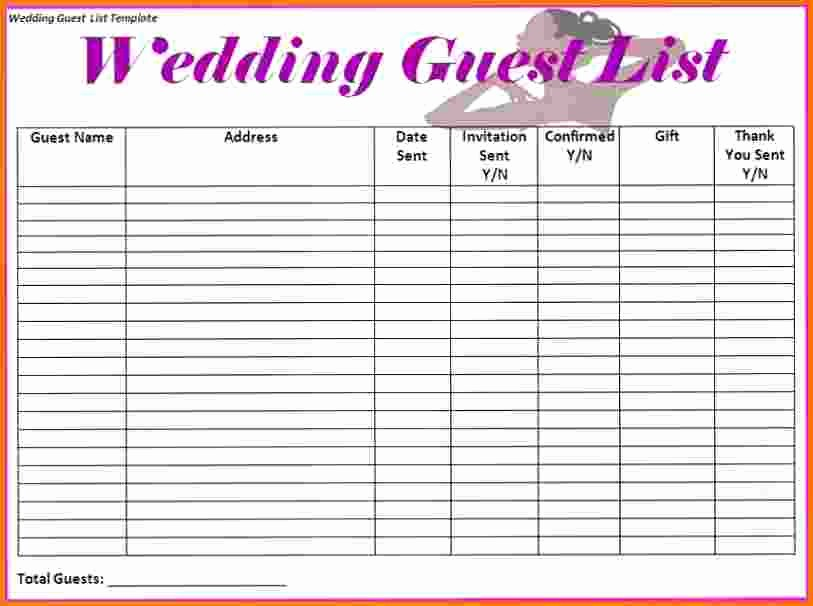 Sample Wedding Guest List Spreadsheet Fresh 4 Wedding Guest List Spreadsheet