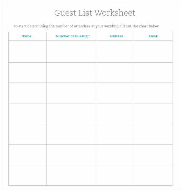 Sample Wedding Guest List Spreadsheet Fresh 9 Guest List Samples