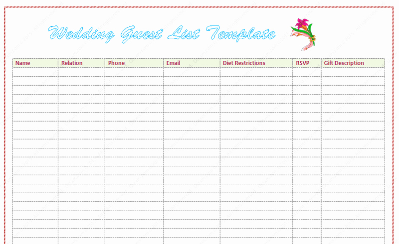 Sample Wedding Guest List Spreadsheet Fresh Wedding Guest List Template Word Dotxes