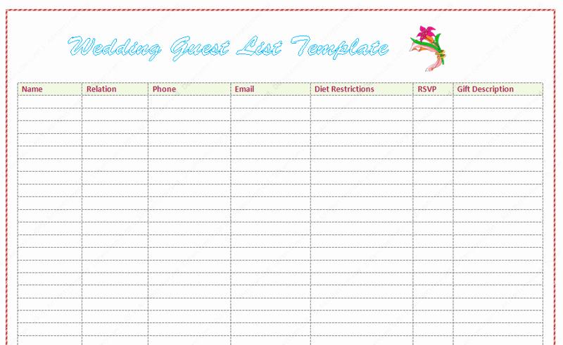 Sample Wedding Guest List Spreadsheet Fresh Wedding Guest List Template Word Dotxes