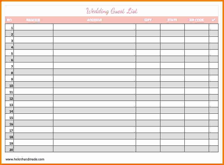 Sample Wedding Guest List Spreadsheet Lovely 4 Printable Wedding Guest List