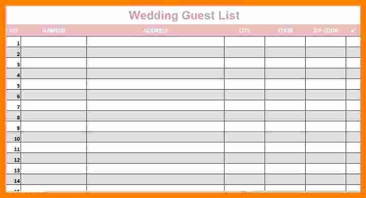 Sample Wedding Guest List Spreadsheet Lovely 5 Wedding Guest List Spreadsheet