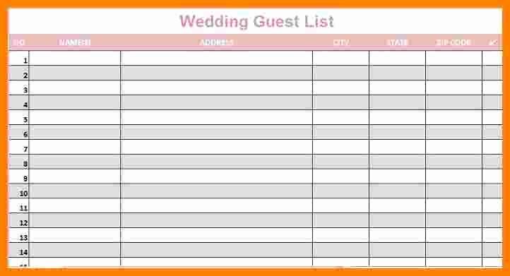Sample Wedding Guest List Spreadsheet Lovely 5 Wedding Guest List Spreadsheet