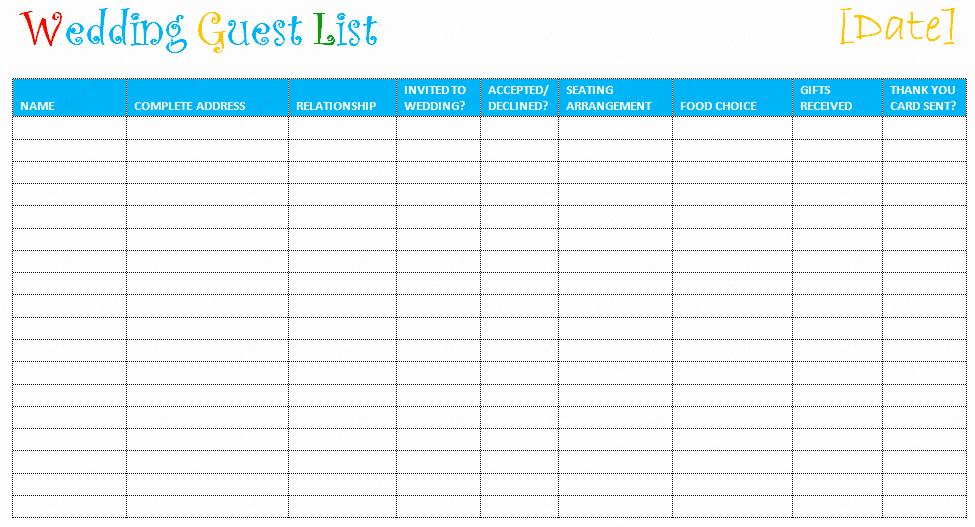 Sample Wedding Guest List Spreadsheet Lovely Printable Wedding Guest List Template