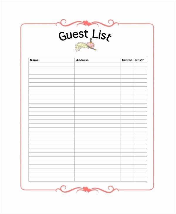 Sample Wedding Guest List Spreadsheet Lovely Wedding Guest List Planner