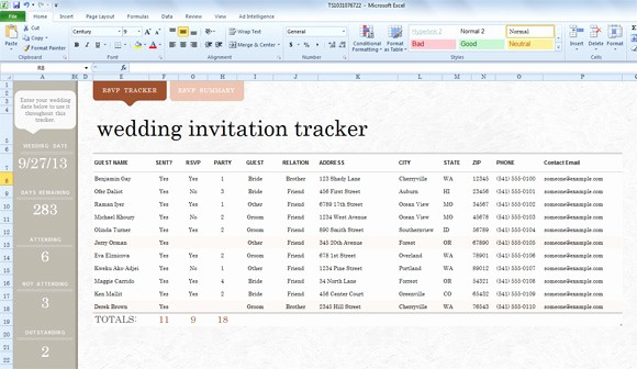 Sample Wedding Guest List Spreadsheet Lovely Wedding Invite List Template for Excel 2013