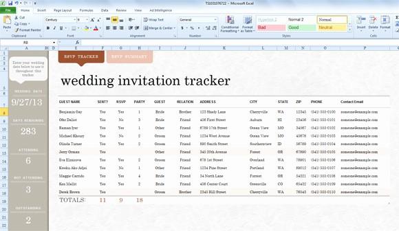 Sample Wedding Guest List Spreadsheet Lovely Wedding Invite List Template for Excel 2013