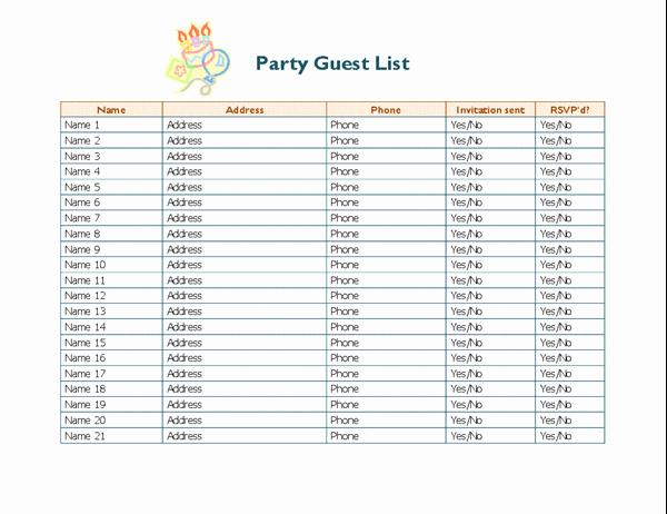 Sample Wedding Guest List Spreadsheet New Party Guest List
