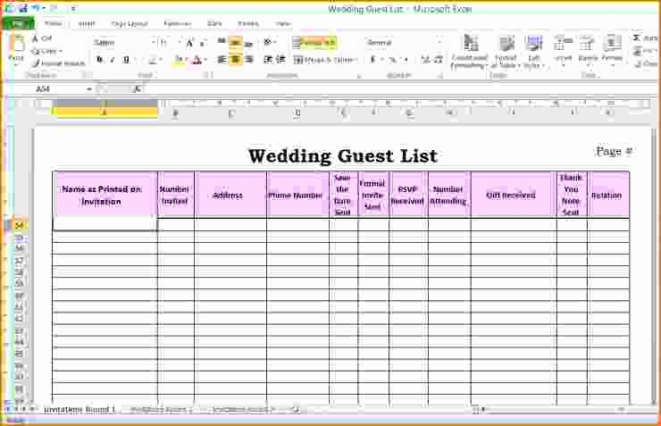 Sample Wedding Guest List Spreadsheet Unique 5 Wedding Guest List Template Excel