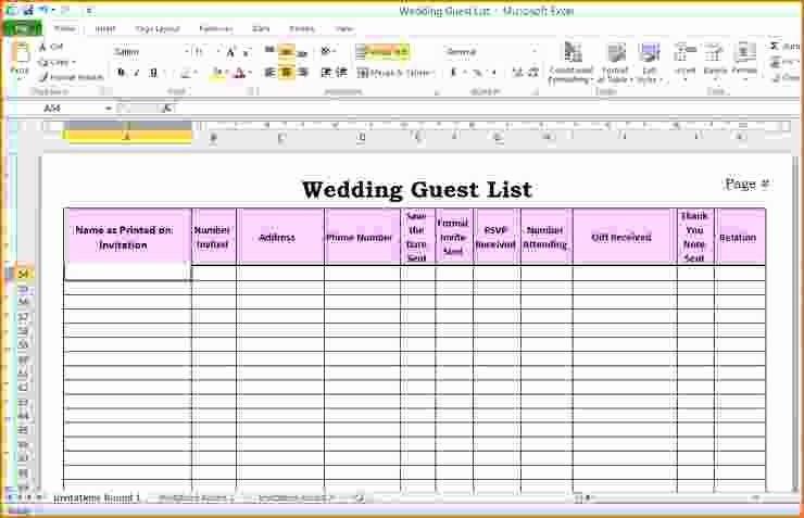 Sample Wedding Guest List Spreadsheet Unique 5 Wedding Guest List Template Excel