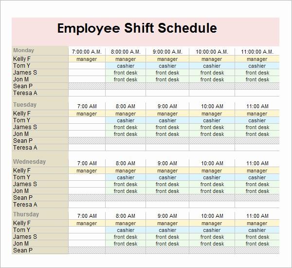 Sample Work Schedule for Employees Elegant 13 Employee Schedule Samples