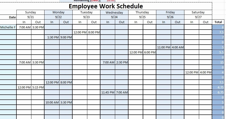 Sample Work Schedule for Employees Elegant Employee Work Schedule Template Sample