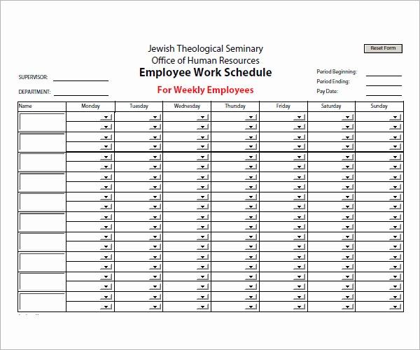 Sample Work Schedule for Employees Fresh 13 Employee Schedule Samples