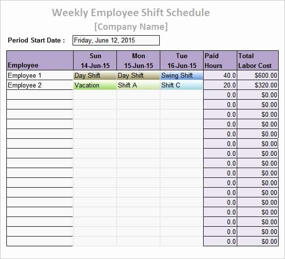 Sample Work Schedule for Employees Fresh 9 Work Schedule Templates Word Excel Pdf formats