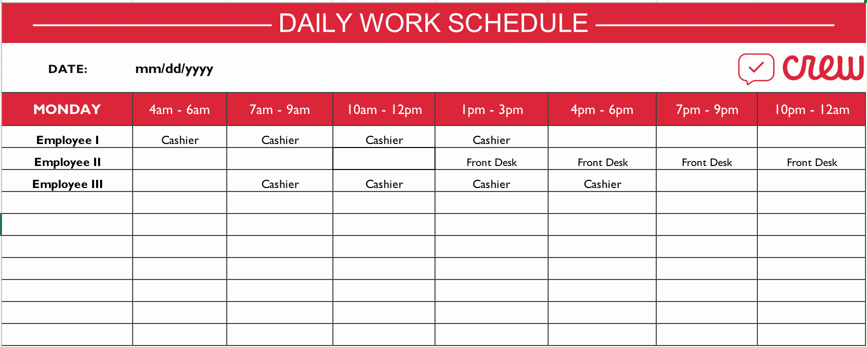 Sample Work Schedule for Employees Fresh Free Daily Work Schedule Template Crew