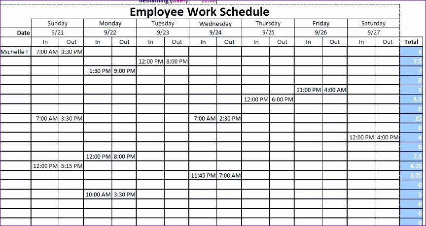 Sample Work Schedule for Employees Lovely 11 Employee Scheduling Excel Template Exceltemplates