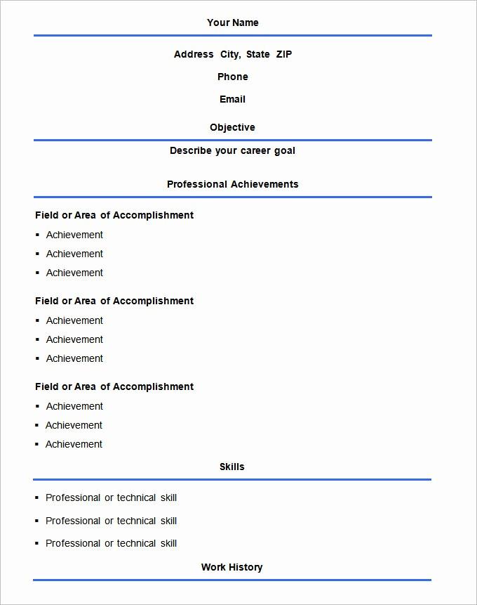 Samples Of A Basic Resume Best Of 70 Basic Resume Templates Pdf Doc Psd