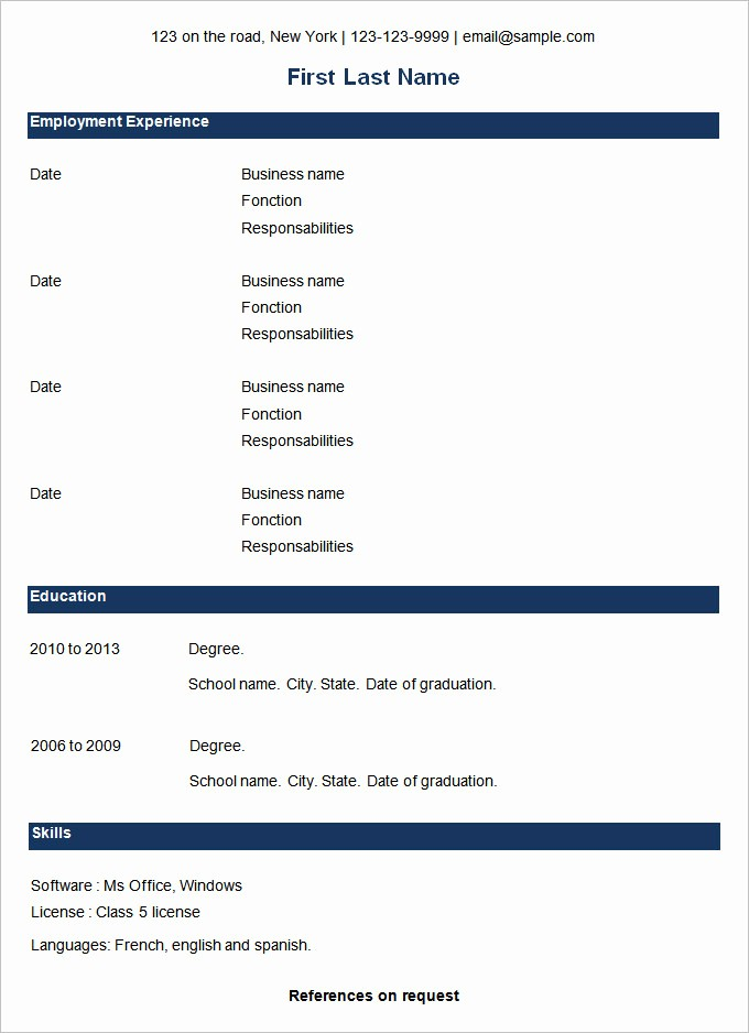 Samples Of A Basic Resume Fresh 70 Basic Resume Templates Pdf Doc Psd